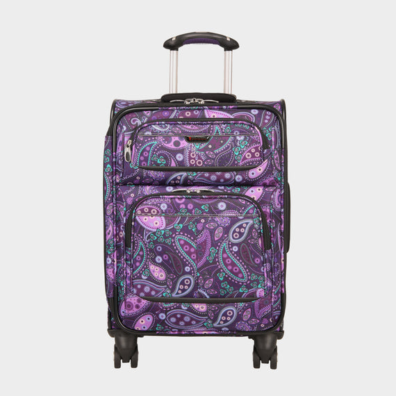 Carry-On Mar Vista 20-Inch Carry-On Suitcase in Purple Paisley Front View in  in Color:Purple Paisley in  in Description:Front