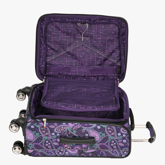 Carry-On Mar Vista 20-Inch Carry-On Suitcase in Purple Paisley Alternate Open View in  in Color:Purple Paisley in  in Description:Open Detail