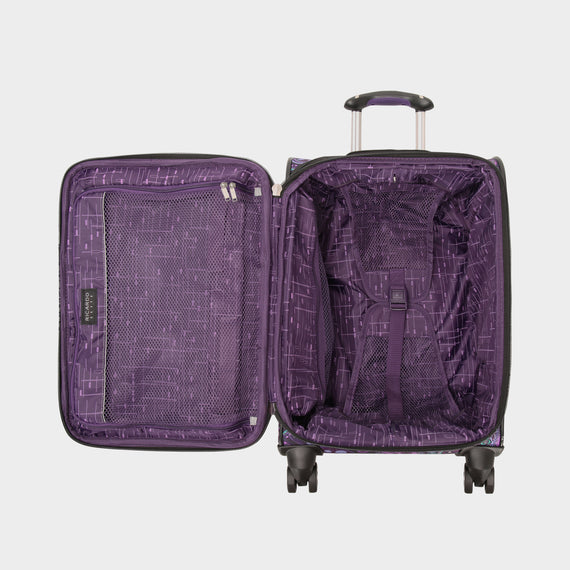 Carry-On Mar Vista 20-Inch Carry-On Suitcase in Purple Paisley Open View in  in Color:Purple Paisley in  in Description:Opened