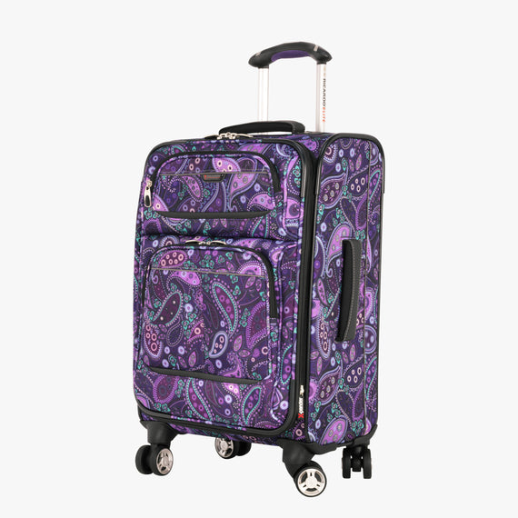 Carry-On Mar Vista 20-Inch Carry-On Suitcase in Purple Paisley Front Quarter View in  in Color:Purple Paisley in  in Description:Angled View