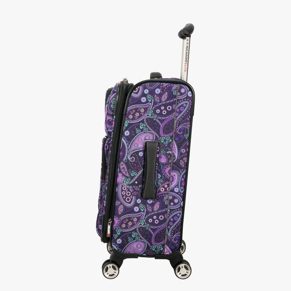 Carry-On Mar Vista 20-Inch Carry-On Suitcase in Purple Paisley Side View in  in Color:Purple Paisley in  in Description:Side