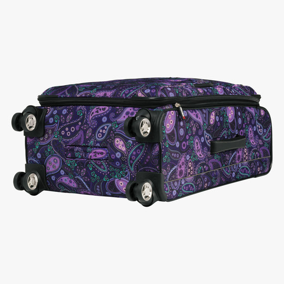 Medium Check-In Mar Vista 24-Inch Check-In Suitcase in Purple Paisley Bottom View in  in Color:Purple Paisley in  in Description:Bottom