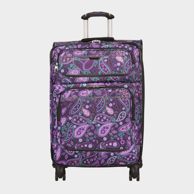 Mar Vista 24-Inch Check-In Suitcase in Purple Paisley Front View~~Color:Purple Paisley~~Description:Front