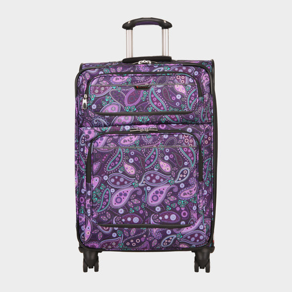 Medium Check-In Mar Vista 24-Inch Check-In Suitcase in Purple Paisley Front View in  in Color:Purple Paisley in  in Description:Front