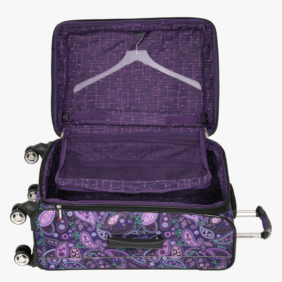 Medium Check-In Mar Vista 24-Inch Check-In Suitcase in Purple Paisley Alternate Open View in  in Color:Purple Paisley in  in Description:Open Detail