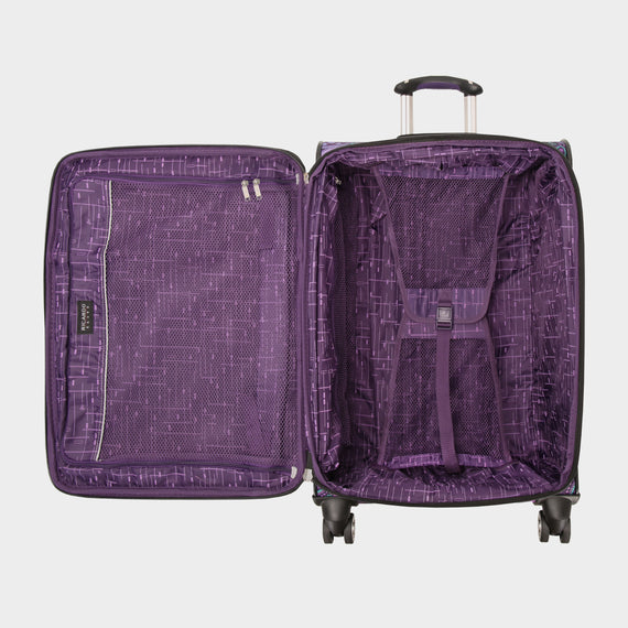 Medium Check-In Mar Vista 24-Inch Check-In Suitcase in Purple Paisley Open View in  in Color:Purple Paisley in  in Description:Opened