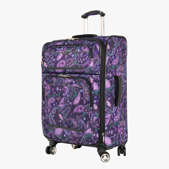 Medium Check-In Mar Vista 24-Inch Check-In Suitcase in Purple Paisley Front Quarter View in  in Color:Purple Paisley in  in Description:Angled View