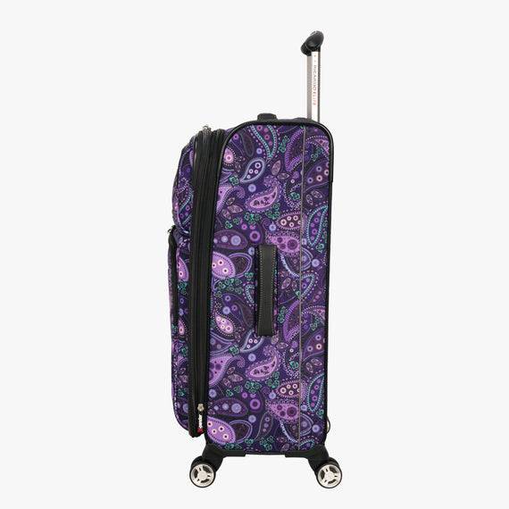 Medium Check-In Mar Vista 24-Inch Check-In Suitcase in Purple Paisley Side View in  in Color:Purple Paisley in  in Description:Side