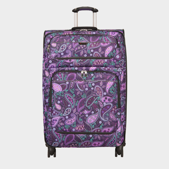 Large Check-In Mar Vista 28-Inch Check-In Suitcase in Purple Paisley Front View in  in Color:Purple Paisley in  in Description:Front