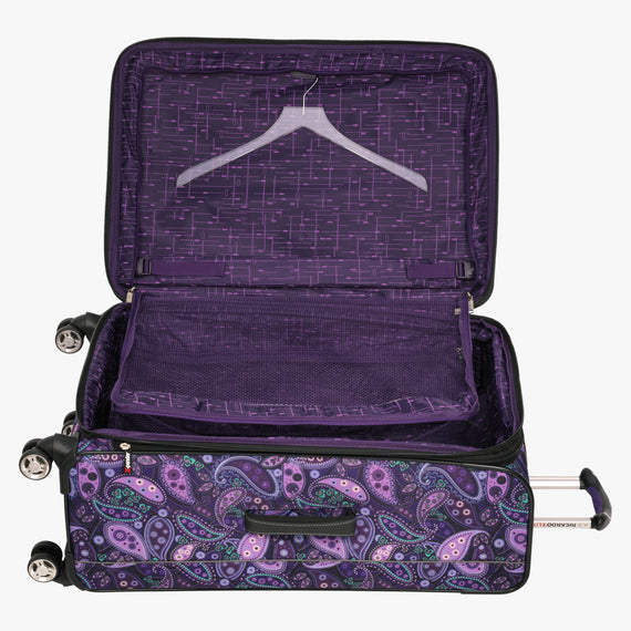 Large Check-In Mar Vista 28-Inch Check-In Suitcase in Purple Paisley Alternate Open View in  in Color:Purple Paisley in  in Description:Open Detail