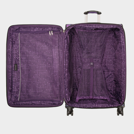 Large Check-In Mar Vista 28-Inch Check-In Suitcase in Purple Paisley Open View in  in Color:Purple Paisley in  in Description:Opened