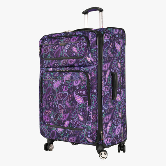 Large Check-In Mar Vista 28-Inch Check-In Suitcase in Purple Paisley Front Quarter View in  in Color:Purple Paisley in  in Description:Angled View