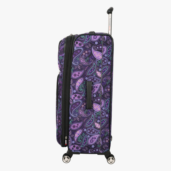 Large Check-In Mar Vista 28-Inch Check-In Suitcase in Purple Paisley Side View in  in Color:Purple Paisley in  in Description:Side