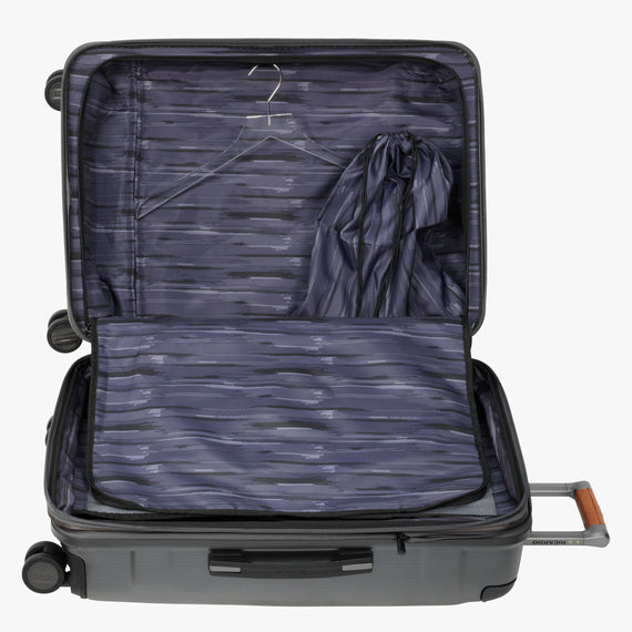 Medium Check-In Ocean Drive 25-inch Check-In Suitcase in Silver Alternate Open View in  in Color:Silver in  in Description:Open Detail