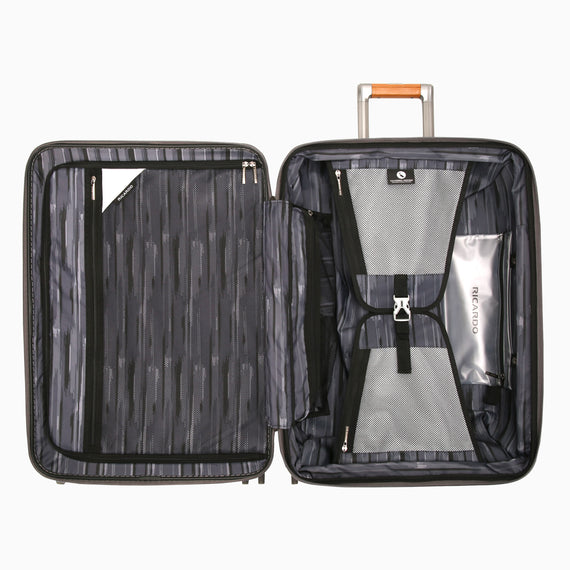Medium Check-In Ocean Drive 25-inch Check-In Suitcase in Silver Open View in  in Color:Silver in  in Description:Opened