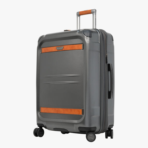 Medium Check-In Ocean Drive 25-inch Check-In Suitcase in Silver Front Quarter View in  in Color:Silver in  in Description:Angled View