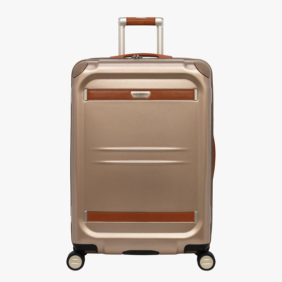 Medium Check-In Ocean Drive 25-inch Check-In Suitcase in Sandstone Front View in  in Color:Sandstone in  in Description:Front
