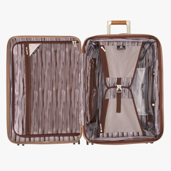 Medium Check-In Ocean Drive 25-inch Check-In Suitcase in Sandstone Open View in  in Color:Sandstone in  in Description:Opened