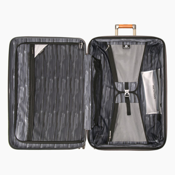 Large Check-In Ocean Drive 29-inch Check-In Suitcase in Silver Open View in  in Color:Silver in  in Description:Opened