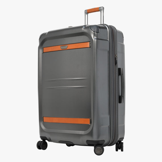 Large Check-In Ocean Drive 29-inch Check-In Suitcase in Silver Front Quarter View in  in Color:Silver in  in Description:Angled View