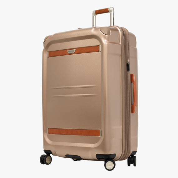 Large Check-In Ocean Drive 29-inch Check-In Suitcase in Sandstone Front Quarter View in  in Color:Sandstone in  in Description:Angled View