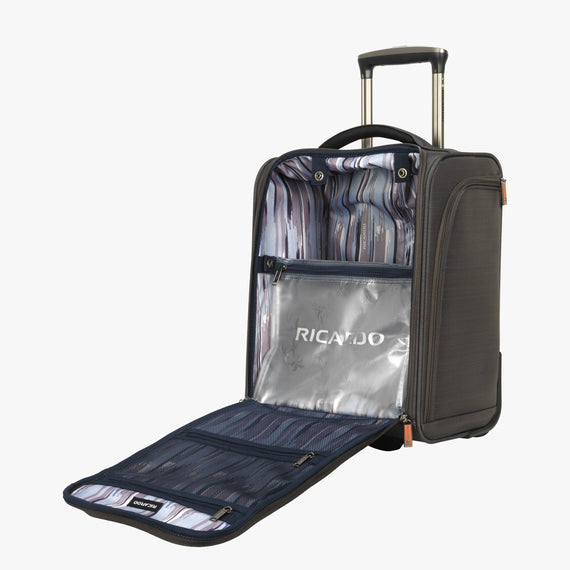 Small Carry-On San Marcos 16-Inch 2-Wheel Under-Seat Carry-On in Grey Open View in  in Color:Grey in  in Description:Opened