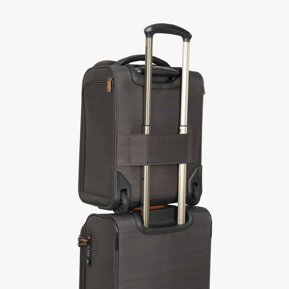 Small Carry-On San Marcos 16-Inch 2-Wheel Under-Seat Carry-On in Grey back strap angle view in  in Color:Grey in  in Description:Backstrap
