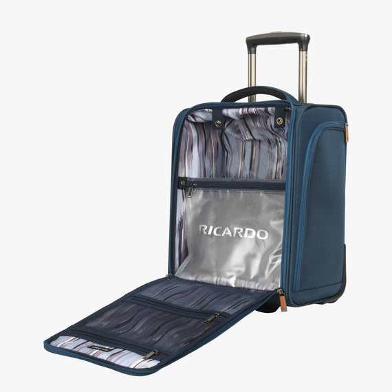 Small Carry-On Ricardo Beverly Hills 16-inch Under Seat Rolling Tote in Midnight Teal in  in Color:Midnight Teal in  in Description:Opened
