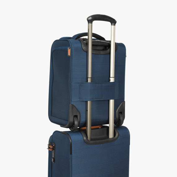 Small Carry-On Ricardo Beverly Hills 16-inch Under Seat Rolling Tote in Midnight Teal in  in Color:Midnight Teal in  in Description:Backstrap