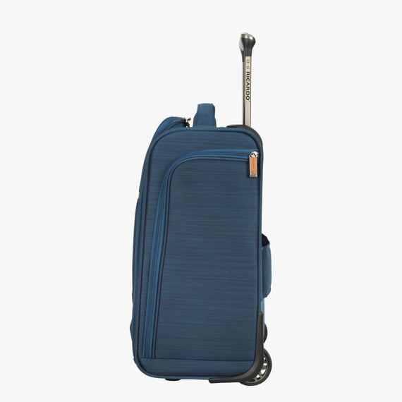 Small Carry-On Ricardo Beverly Hills 16-inch Under Seat Rolling Tote in Midnight Teal in  in Color:Midnight Teal in  in Description:Side