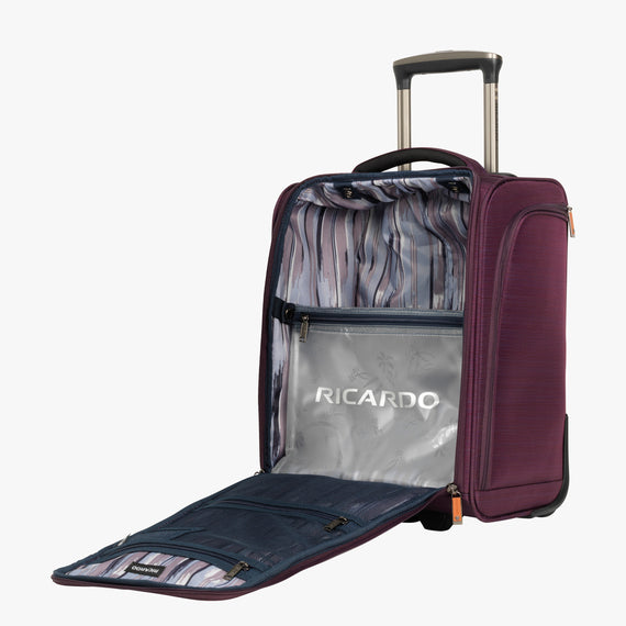 Small Carry-On San Marcos 16-Inch 2-Wheel Under-Seat Carry-On in Violet Open View in  in Color:Violet in  in Description:Opened