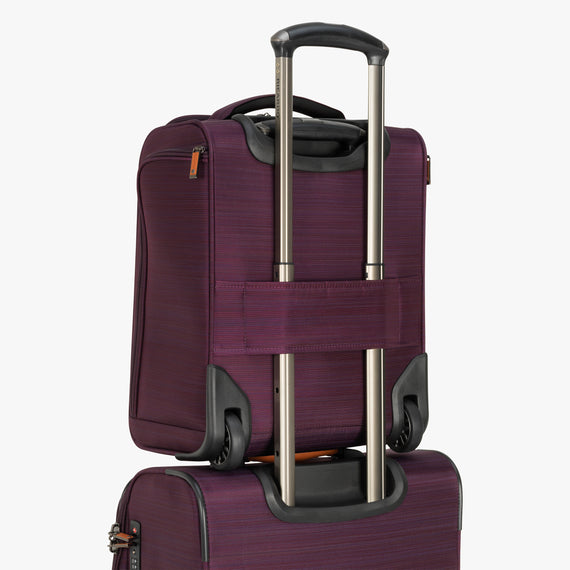 Small Carry-On San Marcos 16-Inch 2-Wheel Under-Seat Carry-On in Violet Back Quarter View in  in Color:Violet in  in Description:Backstrap