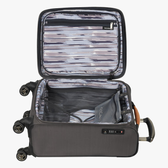 International Carry-On San Marcos 19-inch Carry-On Suitcase in Grey Opened View in  in Color:Grey in  in Description:Opened