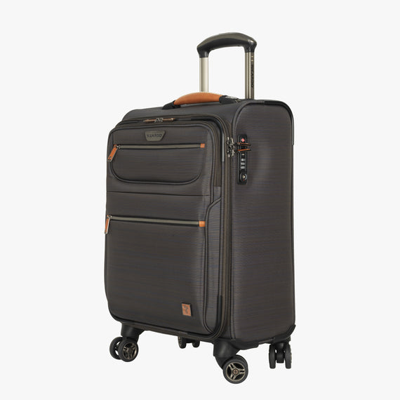 International Carry-On San Marcos 19-inch Carry-On Suitcase in Grey Quarterfront View in  in Color:Grey in  in Description:Angled View