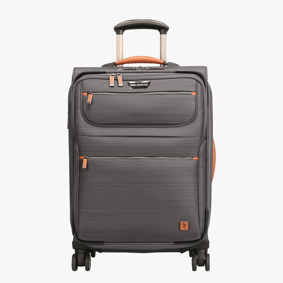 Carry-On San Marcos 21-inch Carry-On Suitcase in Grey Front View in  in Color:Grey in  in Description:Front