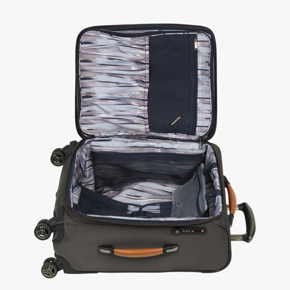 Carry-On San Marcos 21-inch Carry-On Suitcase in Grey Open View in  in Color:Grey in  in Description:Opened