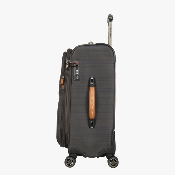Carry-On San Marcos 21-inch Carry-On Suitcase in Grey Side View in  in Color:Grey in  in Description:Side