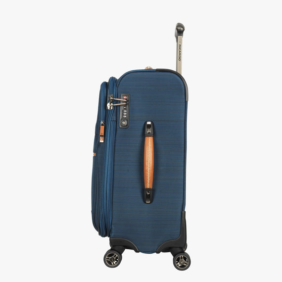 Carry-On Ricardo Beverly Hills 21-inch Carry-On Spinner Upright in Midnight Teal in  in Color:Midnight Teal in  in Description:Side