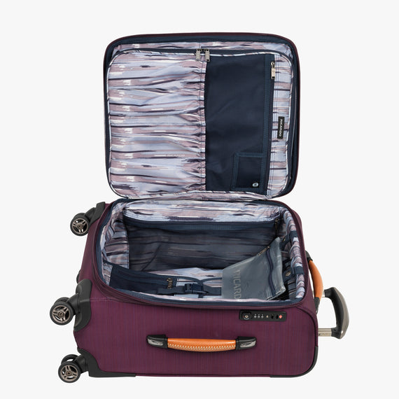 Carry-On San Marcos 21-inch Carry-On Suitcase in Violet Open View in  in Color:Violet in  in Description:Opened