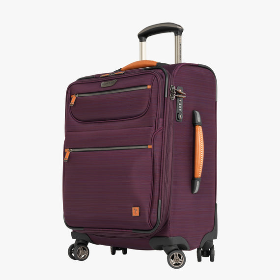 Carry-On San Marcos 21-inch Carry-On Suitcase in Violet Front Quarter View in  in Color:Violet in  in Description:Angled View