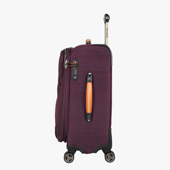Carry-On San Marcos 21-inch Carry-On Suitcase in Violet Side View in  in Color:Violet in  in Description:Side