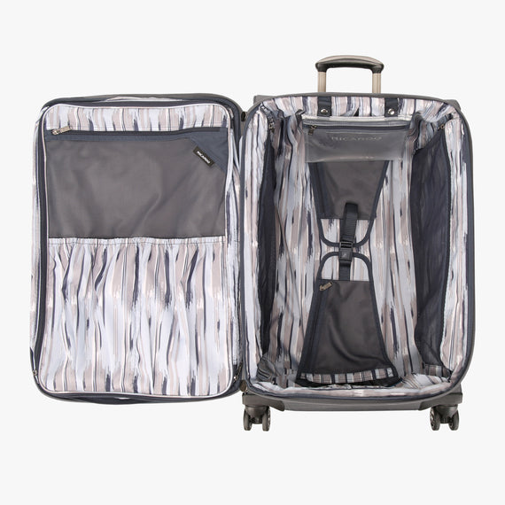 Medium Check-In San Marcos 25-inch Check-In Suitcase in Grey Open View in  in Color:Grey in  in Description:Opened