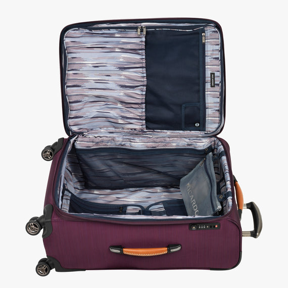 Medium Check-In San Marcos 25-inch Check-In Suitcase in Violet Open View in  in Color:Violet in  in Description:Opened