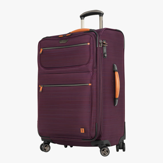 Medium Check-In San Marcos 25-inch Check-In Suitcase in Violet Front Quarter View in  in Color:Violet in  in Description:Angled View