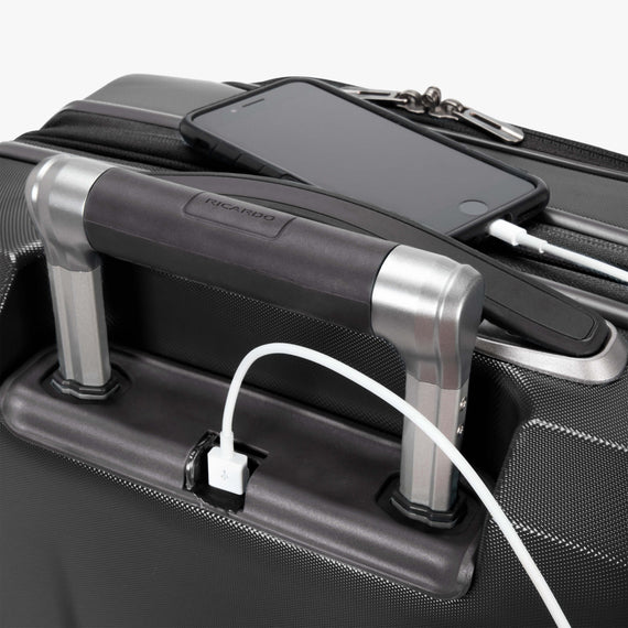 Carry-On Cupertino 20-inch Carry-On Suitcase in Black USB View in  in Color:Black in  in Description:USB Port