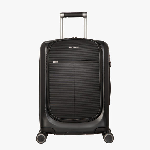 Carry-On Cupertino 20-inch Carry-On Suitcase in Black Front View in  in Color:Black in  in Description:Front