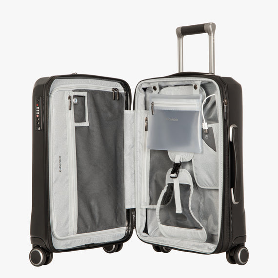Carry-On Cupertino 20-inch Carry-On Suitcase in Black Open View in  in Color:Black in  in Description:Opened
