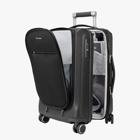 Carry-On Cupertino 20-inch Carry-On Suitcase in Black Alternate Open View in  in Color:Black in  in Description:Open Detail