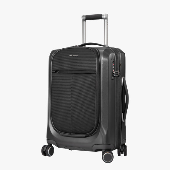 Carry-On Cupertino 20-inch Carry-On Suitcase in Black Quarterfront View in  in Color:Black in  in Description:Angled View