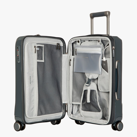 Carry-On Cupertino 20-inch Carry-On Suitcase in Winter Blue Open View in  in Color:Winter Blue in  in Description:Opened